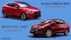 Chọn Honda City 1.5 2017 hay Mazda2 Sedan 2016?