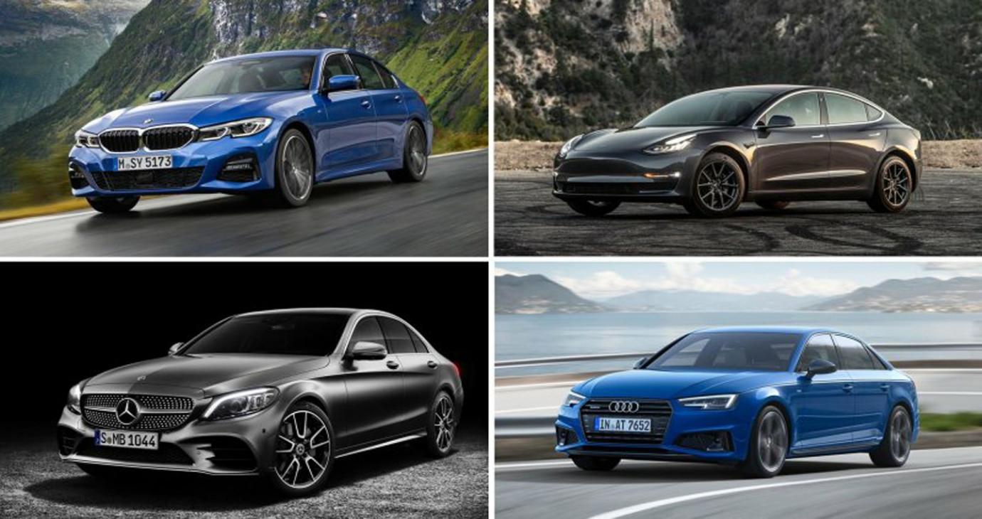 So sánh BMW 3 Series, Audi A4, Mercedes-Benz C-Class 2019 và Tesla Model 3