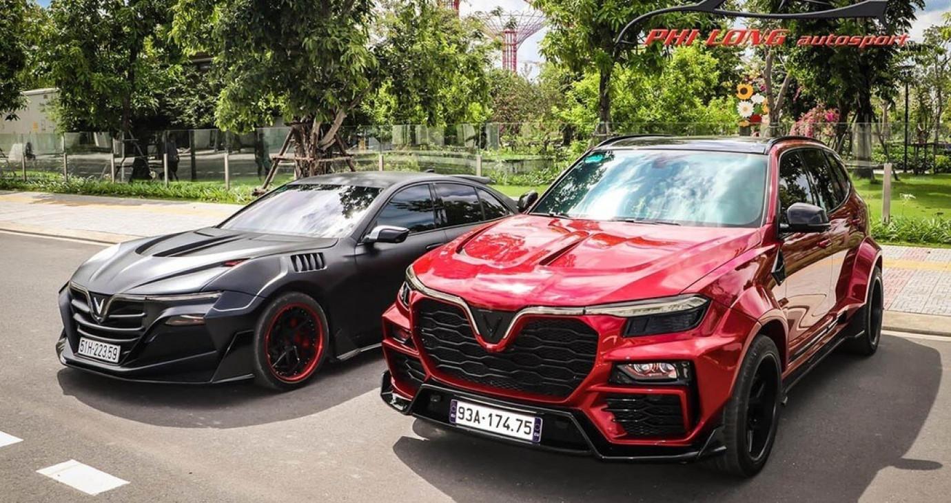 Bộ đôi VinFast Lux độ Widebody độc nhất Việt Nam rủ nhau xuống phố