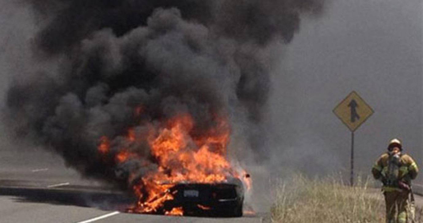 """Chiếc Lamborghini Aventador đầu tiên bị cháy """"rừng rực"""""""